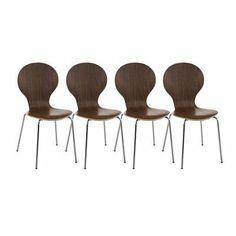 4er Set Besucherstühle Konferenzstuhl Wartezimmerstuhl Stuhl Holz walnuss #Diego  | eBay