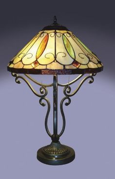 ARROYO SCROLL BASE TIFFANY STYLE TABLE LAMP  - Click image twice for more info - See a larger selection of pull chain table lamps at http://tablelampgallery.com/product-category/pull-chain-table-lamps/ - home, home decor, lamp, lighting , gift ideas.