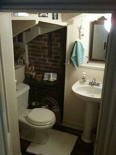 bathroom under the stairs -love the brick. Looks my small bathroom off from the downstairs bedroom.
