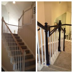 $50 handrail renovation.   120 grit sand paper, dark walnut stain (minwax) 4 coats, high gloss clear coat, white paint touch up! Oh and a little sweat equity :)