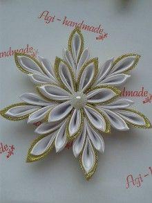 Dekorácie - vianočné vločky kanzashi - 7347113_