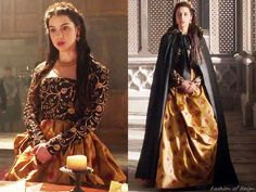 "In the episode 2x12 (""Banished"") Queen Mary looks regal in a custom made gown with structured embroidered bodice and printed full skirt created by Reign Costume Department.Worn with a Viktoria Novak tiara, Magwood Boutique vintage earrings."