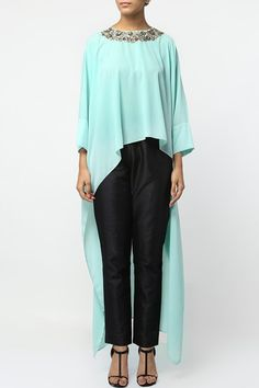 Green embroidered high low tunic.  #carma #shopitatcarma #carmaloves #instadaily #fashiondaily #fashionupdates #instafollow #luxury #floral #indianfashion #musthave #sagegarden #diwaliedit #diwalispecial #ethnic #kurtasets #anarkalis #getthislook #shopping #shopnow #onlineshopping #festive #elegant #madetoorderdress #greentop #highlow #kaftan #georgettetops #designerwearonline #indiandesigners #kylee #floraltops