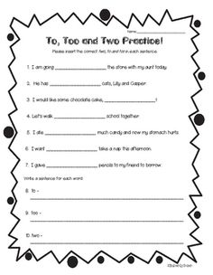 homophones to too and two practice worksheet 2 4 little baers teachers pay teachers. Black Bedroom Furniture Sets. Home Design Ideas