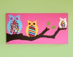 Adorable owl painting for little girl room