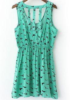 Ärmelloses Kleid Vogel Muster mit Hohlem Design, grün-Sheinside
