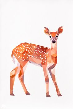 Fawn Baby deer Bambi Geometric illustration by TinyKiwiCreations