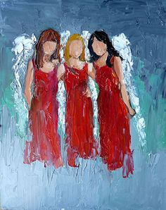 Angel Sisters by Judy Mackey, Oil, 10 x 8 Angel Artwork, Angel Paintings, Angel Drawing, Sisters Art, Christmas Paintings, Pictures To Paint, Acrylic Art, Diy Painting, Knife Painting