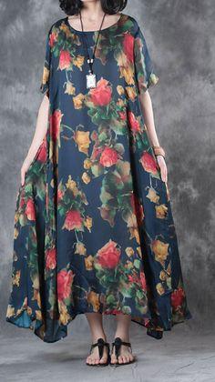 summer 2017 prints casual silk dresses oversize large hem sundress short sleeve maxi dress