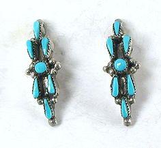 NOS Turquoise Petit Point Post earrings E541 Vintage Earrings, Vintage Jewelry, Matrix Color, Native American Earrings, American Indian Jewelry, Native American Indians, Shades Of Blue, Vintage Shops, Turquoise Bracelet