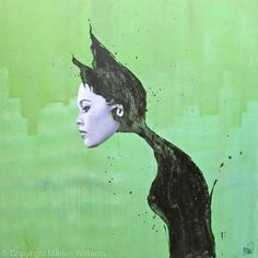 Cat Woman on Green - Collage - Original