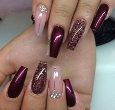 Gelnägel Muster Weinrot … - Most Trending Nail Art Designs in 2018 Fancy Nails, Cute Nails, Pretty Nails, Classy Gel Nails, Crazy Nails, Fabulous Nails, Gorgeous Nails, Perfect Nails, Hair And Nails