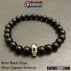 Captain America Bracelets. Fanboy Jewelry. ComicCon. Mens Bracelet. Black Onyx. Silver. #Marvel Comics.