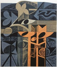 'night shore' woodcut and stencil print by peter green Stencil Printing, Gelli Printing, Abstract Print, Abstract Pattern, Wood Engraving, Print Artist, Watercolor And Ink, Ink Art, Abstract Landscape