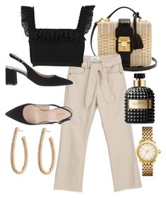 A fashion look from January 2018 featuring chiffon tops, pink pants and black shoes. Browse and shop related looks. Classy Outfits, Stylish Outfits, Fashion Outfits, Fashion Tips, Mode Streetwear, Fashion Capsule, Looks Chic, Polyvore Outfits, Aesthetic Clothes