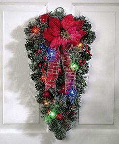 LED Christmas Door Decor Poinsettia Swag Decoration Outdoor Lighted Xmas New