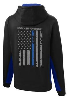 Blue Lives Matter USA Gift America Thin Line Police Flag Gym Zip Hoodie