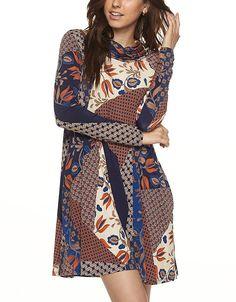 Tendzi Trends Plus Size Multi Print Cowl Neck Pocket Dress => Remarkable product available now. : Plus size dresses
