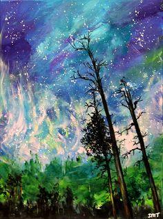 Northern Lights, night sky, cosmic sky art, original acrylic painting, unframed art, unframed office art, Aurora Borealis, wall decor by ThisArtToBeYours on Etsy
