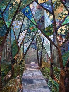 Road to Costa Rica by Eileen Williams. This quilt was made around the center photo transfer from a picture taken while driving in Coast Rica