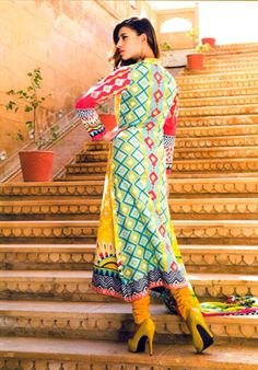 Vivid Yellow Multicoloured Cotton Suit With Neck Embroidery  #pakistani #suits #collection #maria   Buy at : http://www.alicolors.com