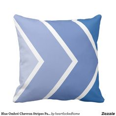 Blue Ombré Chevron Stripes Pattern Throw Pillow