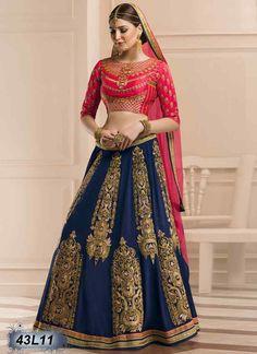Trendy Navy Blue Coloured Georgette Lehenga Choli