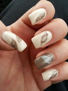 Feather Nail Designs Art Gel Nails Design Nagel