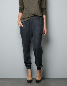 Harem pants. Really versatile. Super easy to wear. Like fancy sweats.