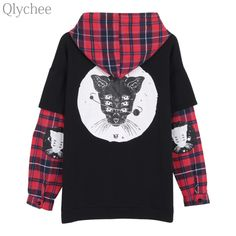 """HOT PRICES FROM ALI - Buy """"Qlychee Autumn Women Harajuku Cat Printed Pullover Plaid Fake 2 piece Hooded Sweatshirt Streetwear Casual Loose Tracksuit"""" from category """"Sports & Entertainment"""" for only USD. Harajuku, Subcultura Punk, Plaid Patchwork, Punk Women, Plaid Fashion, Fashion Edgy, Style Fashion, Cool Hoodies, Hooded Sweatshirts"""