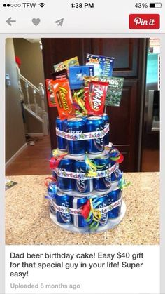 trendy birthday presents for brother diy beer cakes Birthday Cakes For Men, Birthday Diy, Birthday Presents, Cake Birthday, 21st Birthday Gifts For Guys, Dad Birthday Quotes, Birthday Basket, Birthday Nails, Gifts For Dad