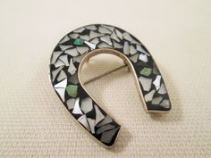 Sterling Silver Horseshoe/MOP Inlay by VintageBADTIQUE on Etsy