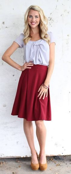 Chiffon Bow Top in Gray and Royally Pleated Skirt (Burgundy)