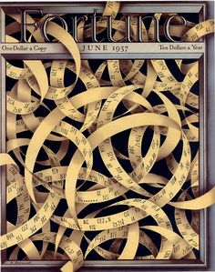 Antonio Petruccelli Cover of Fortune Magazine 1937. Stock Ticker Tape