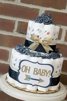 READY TO SHIP - 2 Tier Oh Baby Arrow Diaper Cake Diaper Cake, Tribal Baby…