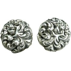SOLD - Beautiful Sterling Silver Art Nouveau Screw back Earrings.  These earrings are small but gorgeous with wonderful detailed Acanthus leaf scrolls.  SOLD