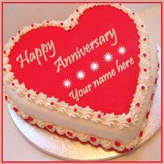 Simple Anniversary Cakes, Happy Marriage Anniversary Cake, Anniversary Cake Pictures, Anniversary Cake With Photo, Anniversary Cake Designs, Wedding Anniversary Wishes, Kue Anniversary, Birthday Cake Write Name, Half Birthday Cakes