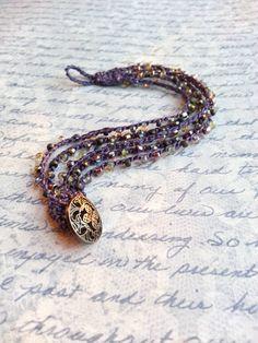Violet Purple Beaded Crochet Bracelet Boho Bohemian Gyspy Southwestern Chic Vintage Button Clasp Crochet Jewelry Romantic Elegant Seed Beads