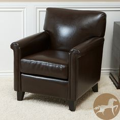 @Overstock.com - Christopher Knight Home Leeds Classic Brown Bonded Leather Club Chair - Supple and elegant, this Leeds club chair is upholstered in soft bonded leather. This overstuffed arm chair features an espresso finish on the legs.  http://www.overstock.com/Home-Garden/Christopher-Knight-Home-Leeds-Classic-Brown-Bonded-Leather-Club-Chair/5166168/product.html?CID=214117 $182.69