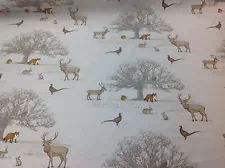 Tatton British stag deer fox woodland Cotton by Funkysheets Woodland Fabric, Woodland Theme, Sun Painting, Stag Deer, Glider Chair, Creative Textiles, Curtain Fabric, Creative Inspiration, Cleaning Wipes