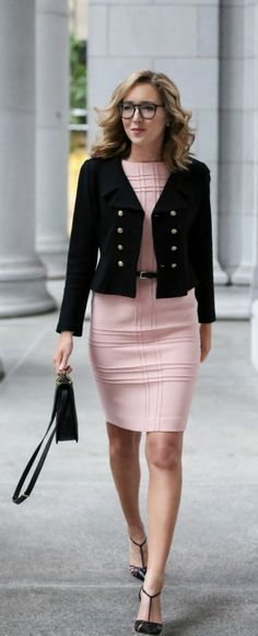 pink sheath dress, cropped double breasted jacket, pointed toe t-strap pumps, black handbag + skinny belt {what to wear to a client meeting, dress for meeting with a client}