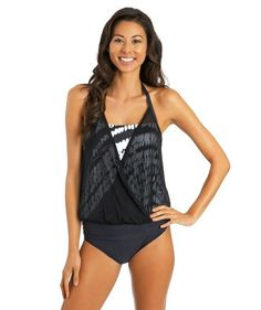 Athena Tankini Swimwear Black A Line Tankini Top Size 10 AT26245
