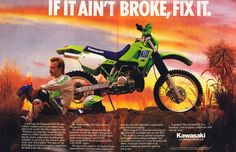 Vintage Brochures: Kawasaki KDX 200 1989 (Usa). Funny they should've said that. I don't think the '89+ models were as good as the previous air-cooled models..