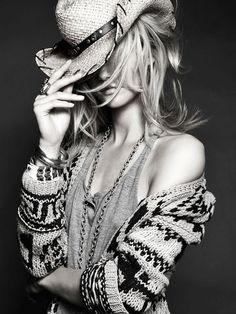 black and white, cowboy hat, fashion, girl, photography, portrait, style