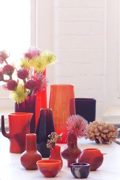 Vessels from Dinosaur Designs. Painting Inspiration, Color Inspiration, Flower Vases, Flowers, Dinosaur Design, Color Pairing, Orange And Purple, My Favorite Color, Color Trends