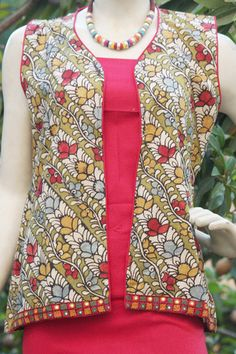 Hand Painted Kalamkari Jacket - L Types Of Jackets, Jackets For Women, Ladies Jackets, Suit Fashion, Fashion Outfits, Kurta Style, Afghan Clothes, Kurti Patterns, Kurta Designs