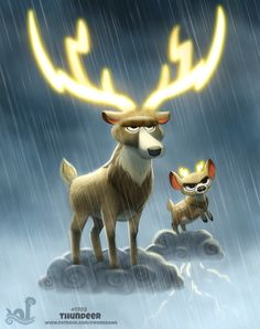 Daily Painting Thundeer by Cryptid-Creations on DeviantArt Cute Animal Drawings Kawaii, Kawaii Drawings, Cute Drawings, Cute Fantasy Creatures, Cute Creatures, Animal Puns, Cute Funny Animals, Cartoon Art, Cute Art