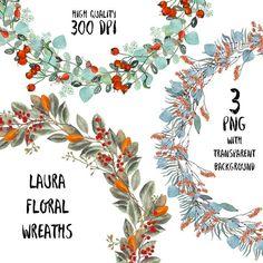 Laura Floral Wreaths decoration digital transparent high Floral Wreaths, Graphic Design, Digital, Decoration, Handmade Gifts, Etsy, Vintage, Art, Flower Crowns