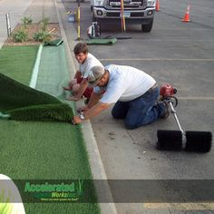 This is a boulevard application for SYNLawn at a commercial property.  This area is in a high traffic zone and is prone to hot dry conditions (not ideal for growing lush green turf).  Synthetic lawn allows this owner to keep a bright storefront appearance without nearly the maintenance.