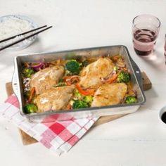 Oppskrift på Ovnsbakt kyllingfilet med asiatisk fløtesaus